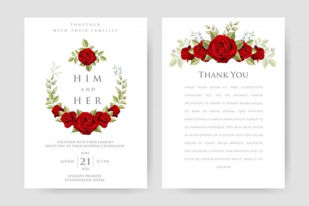 Karta Zaproszenie Na ślub Z Czerwonych Róż I Liści Szablon Premium Wektorów