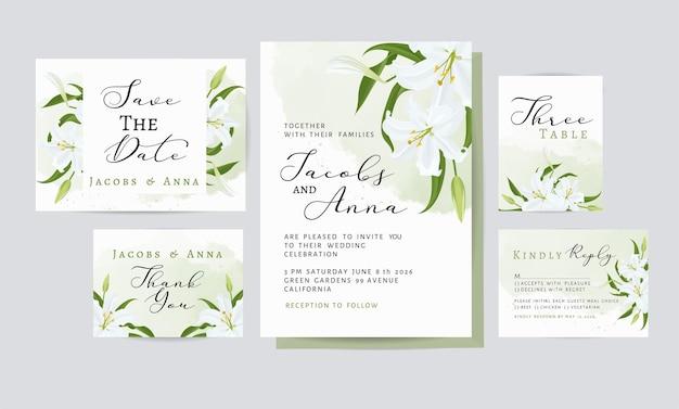 Karta Zaproszenie Na ślub Z Dekoracją Kwiatową I Liśćmi Darmowych Wektorów