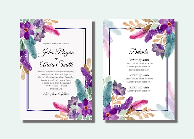 Karta Zaproszenie Na ślub Z Fioletowym Kwiatowym I Piórkiem Z Akwarelą Premium Wektorów
