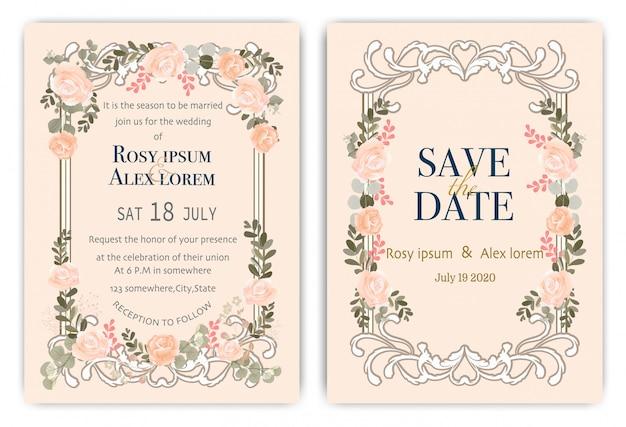 Karta zaproszenie na ślub z kolorowych kwiatów i liści. Premium Wektorów