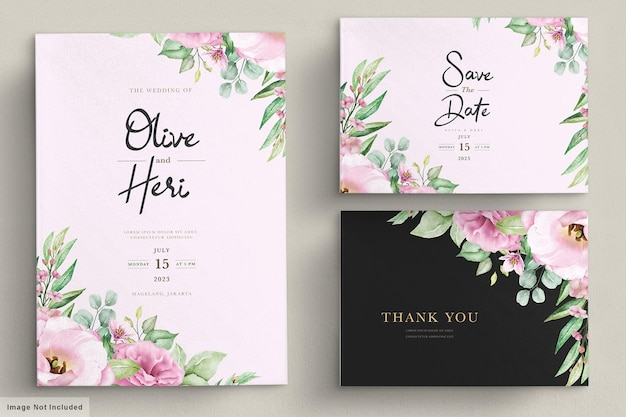 Karta Zaproszenie Na ślub Z Kwiatami Darmowych Wektorów