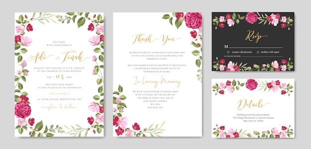 Karta zaproszenie na ślub z kwiatów i liści szablon ramki Premium Wektorów