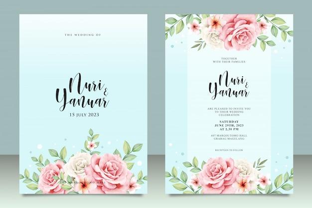 Karta zaproszenie na ślub z kwiatowym Premium Wektorów