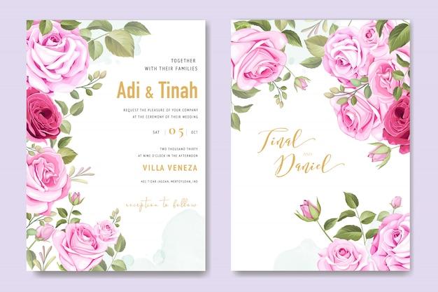 Karta zaproszenie na ślub z kwiatowymi elementami Premium Wektorów