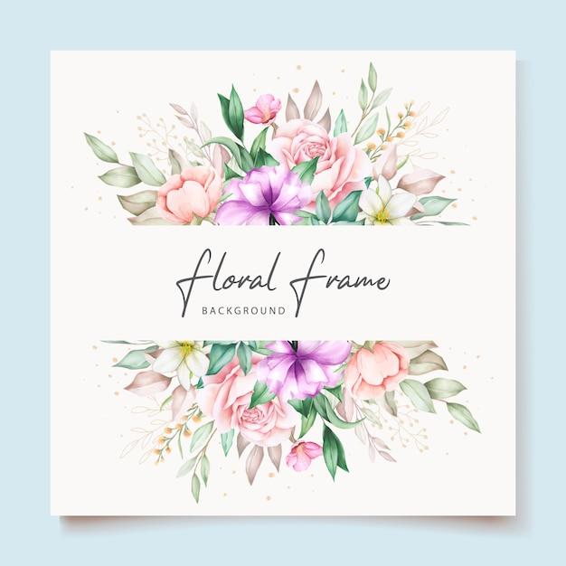 Karta Zaproszenie Na ślub Z Miękkim Zielonym Akwarelą W Kwiaty Darmowych Wektorów