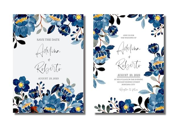 Karta Zaproszenie Na ślub Z Niebieskim Akwarelą Kwiatowy Premium Wektorów