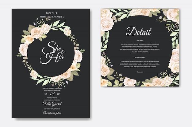 Karta zaproszenie na ślub z pięknym kwiatowy i liści Premium Wektorów