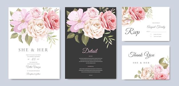 Karta zaproszenie na ślub z pięknymi kwiatami i liśćmi Premium Wektorów
