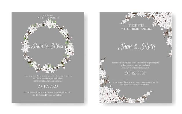 Karta zaproszenie na ślub z pięknymi kwiatami Premium Wektorów