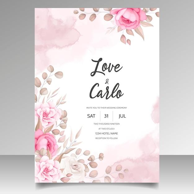 Karta Zaproszenie Na ślub Z Pięknymi Ornamentami Kwiatowymi Darmowych Wektorów