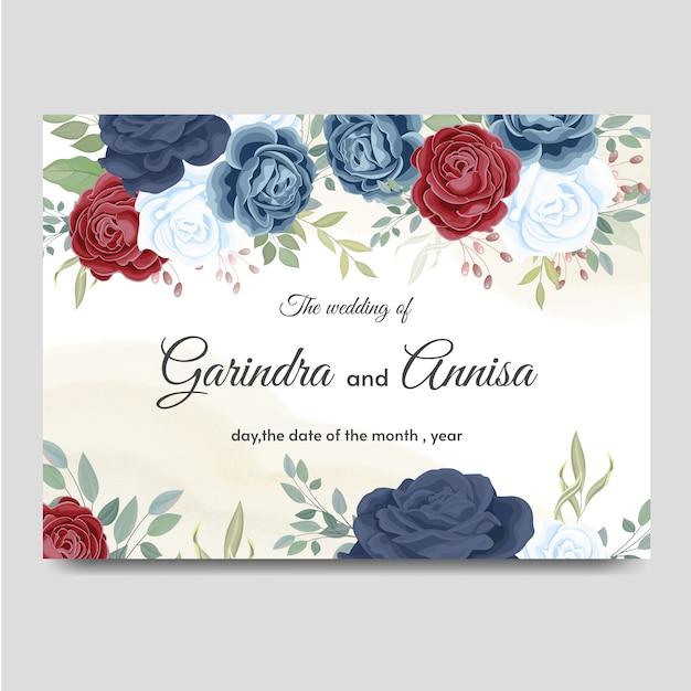 Karta Zaproszenie Na ślub Z Pięknymi Różami Premium Wektorów