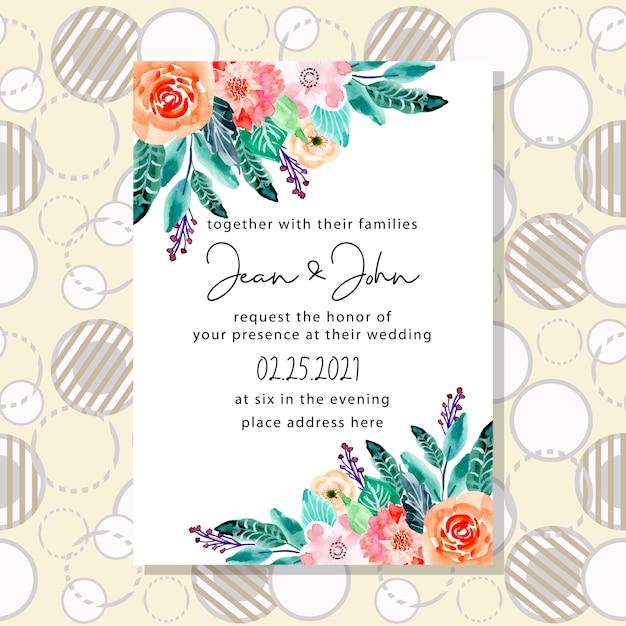 Karta zaproszenie na ślub z tłem wzór koła Premium Wektorów