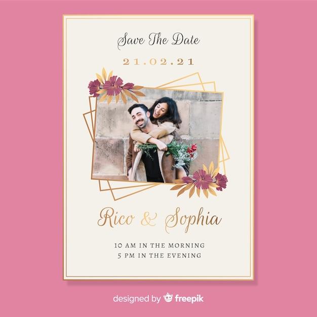 Karta zaproszenie na ślub ze zdjęciem Darmowych Wektorów