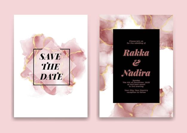 Karta Zaproszenie Na ślub Ze Złotymi Różowymi Falami Kształtów Akwarela Darmowych Wektorów
