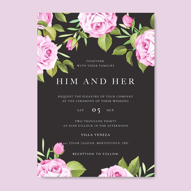 Karta zaproszenie ślubne z kolorowych kwiatów i liści Premium Wektorów
