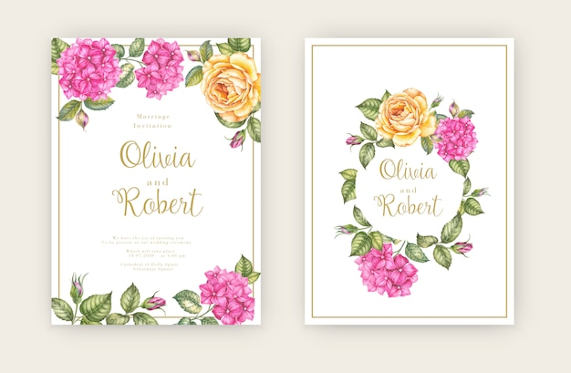 Karta Zaproszenie ślubne Z Kwiatami Premium Wektorów