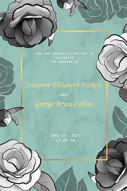 Karta zaproszenie ślubne z kwiatami. Premium Wektorów