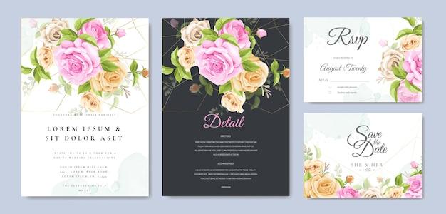 Karta zaproszenie ślubne z pięknym szablonem kwiatowy i liści Premium Wektorów