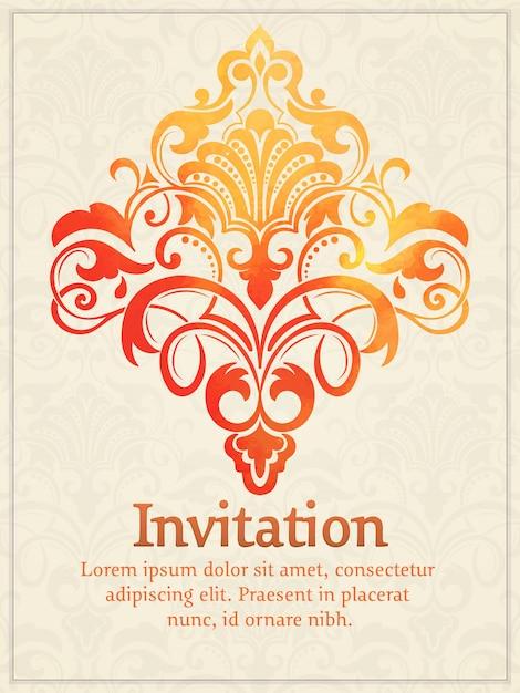 Karta Zaproszenie Z Akwarela Adamaszek Elementu Na Tle światła Adamaszku Darmowych Wektorów