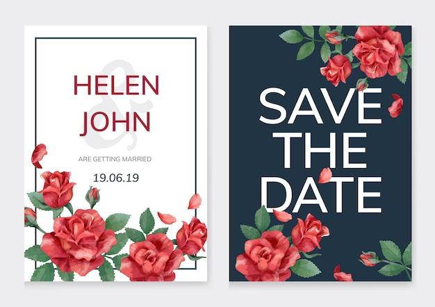 Karta zaproszenie z róż i liści Darmowych Wektorów