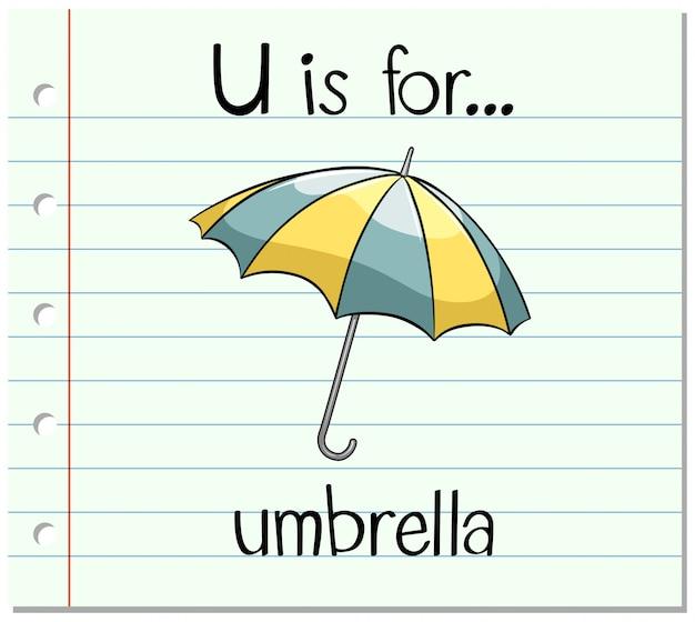 Kartami litera u jest na parasol Darmowych Wektorów