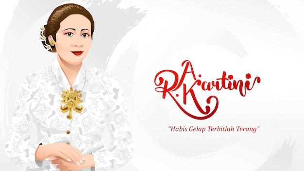 Kartini day, ra kartini bohaterowie kobiet i prawa człowieka w indonezji Premium Wektorów