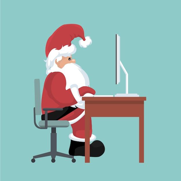 Kartka Bożonarodzeniowa święty Mikołaj Na Jego Komputerze Premium Wektorów