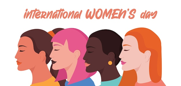 Kartka Lub Plakat Z Okazji Dnia Kobiet 8 Marca, Baner Internetowy Lub Nagłówek. Kobiety Różnych Ras Lub Narodowości, Feminizm I Dziewczęca Siła. Równość Płci I Ruch Kobiet. Premium Wektorów