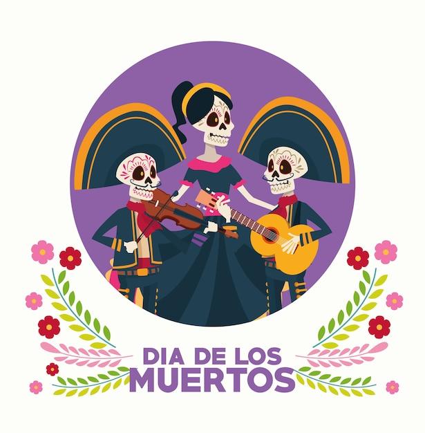 Kartka Okolicznościowa Dia De Los Muertos Z Grupą Szkieletów I Kwiatami Premium Wektorów