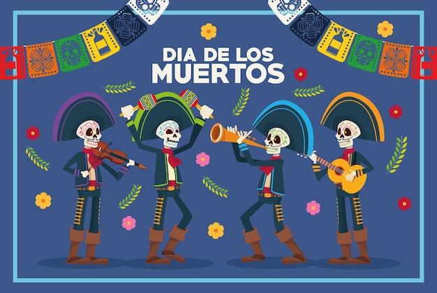 Kartka Okolicznościowa Dia De Los Muertos Ze Szkieletami Mariachis I Girlandami Premium Wektorów