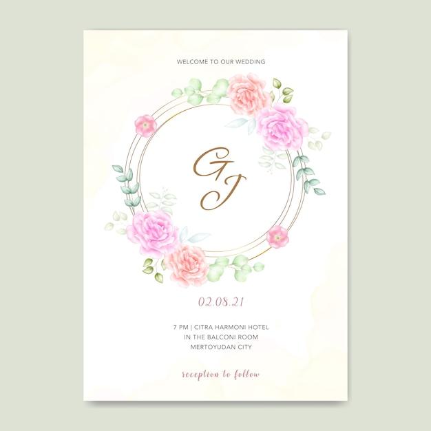 Kartka ślubna z akwarela kwiaty Premium Wektorów