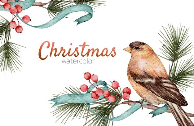 Kartka świąteczna Akwarela Ręcznie Malowana Premium Wektorów
