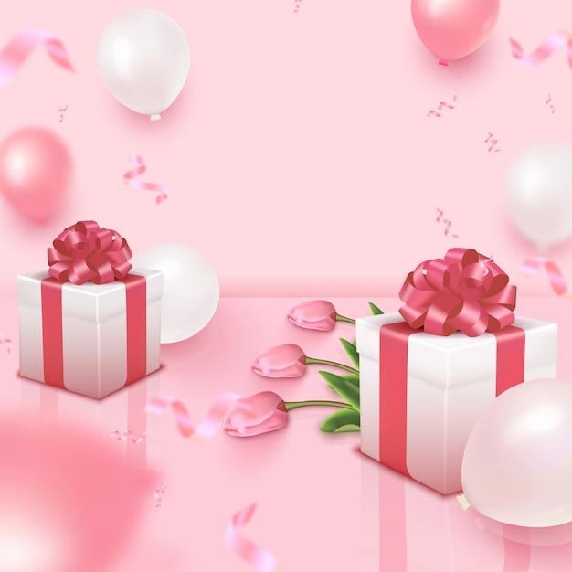 Kartka świąteczna Z Bukietem Tulipanów, Różowe I Białe Balony I Pudełka Na Różowym Tle. Dzień Kobiet, Dzień Matki, Walentynki, Urodziny, Rocznica, Szablon ślubu. Ilustracja Premium Wektorów