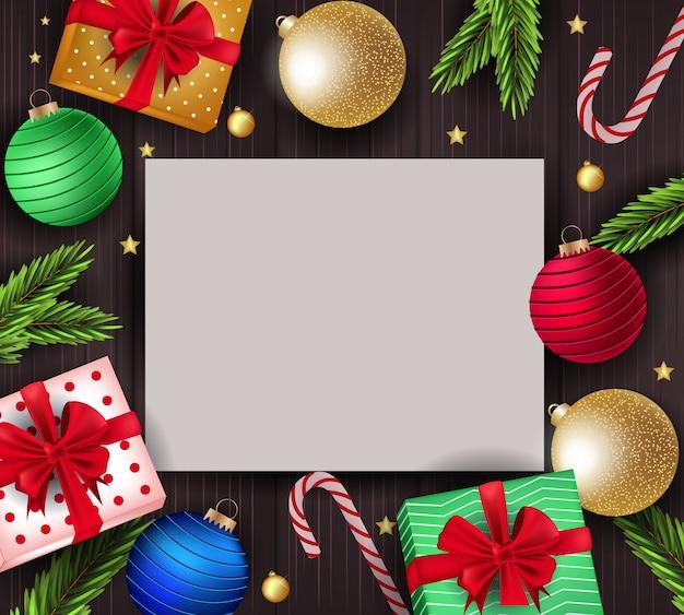 Kartka świąteczna z cute ozdoby Premium Wektorów