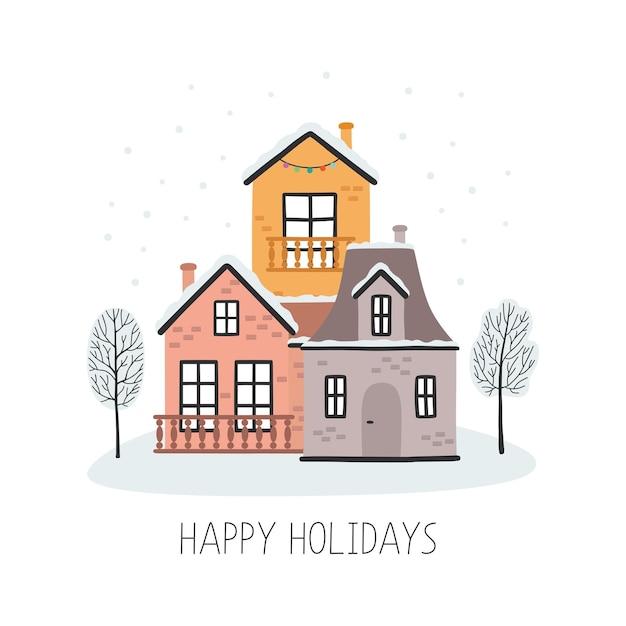 Kartka świąteczna Z Domami Wesołych świąt Premium Wektorów