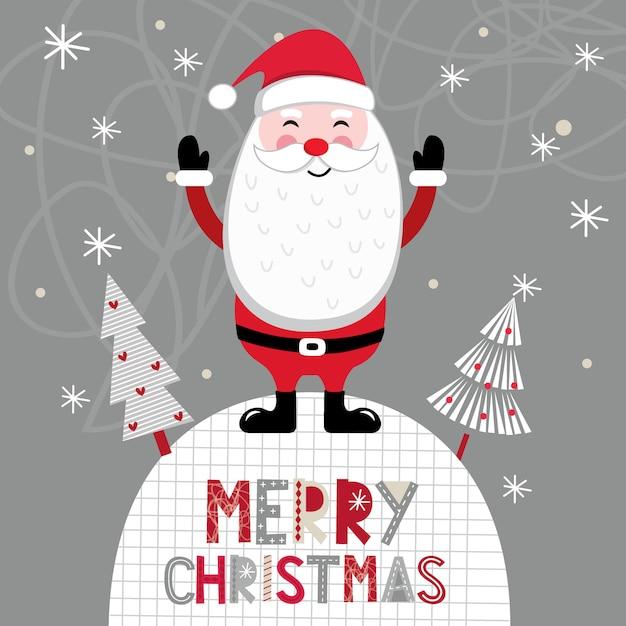 Kartka świąteczna z ładny święty mikołaj Premium Wektorów