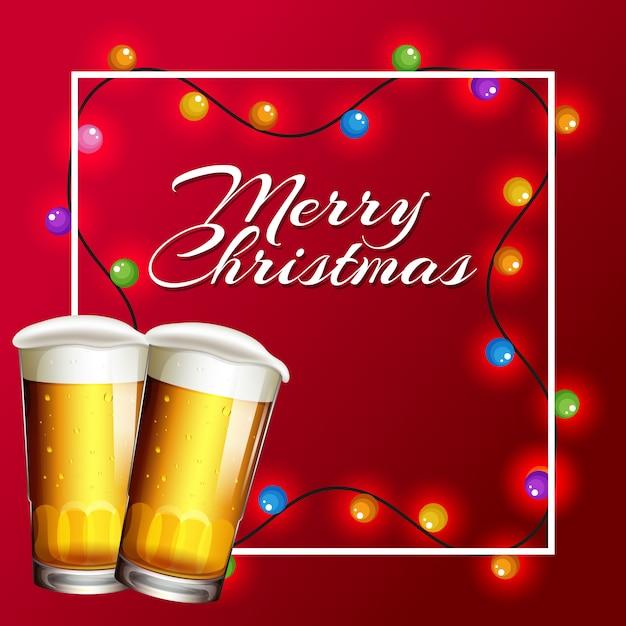 Kartka świąteczna z oświetleniem i piwem Darmowych Wektorów