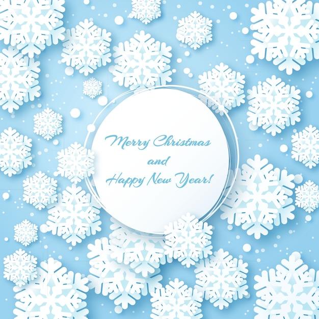Kartka świąteczna z płatek śniegu papieru Premium Wektorów