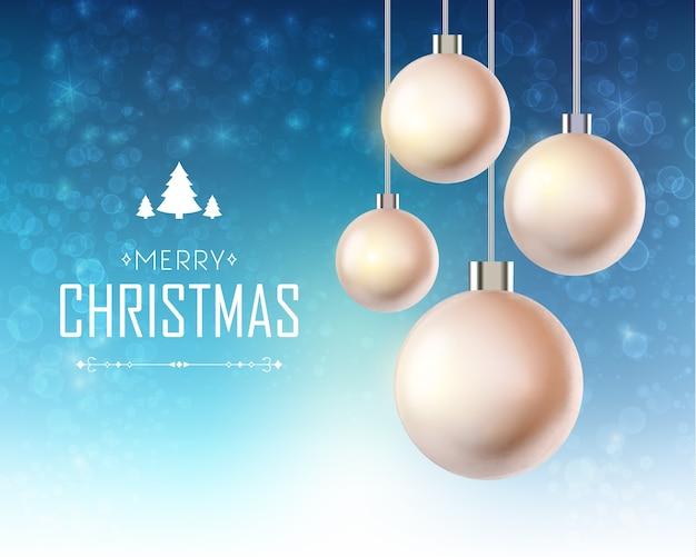 Kartka świąteczna Z Realistycznymi Wiszącymi Bombkami I Napisem Na świecącym Na Niebiesko Darmowych Wektorów