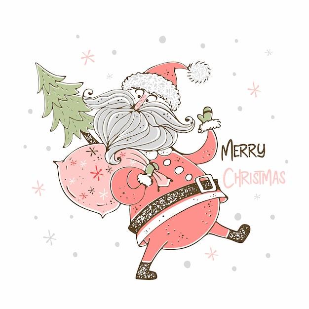 Kartka świąteczna z wesołych świętego mikołaja. doodle styl. Premium Wektorów