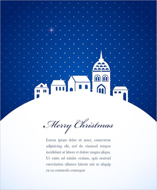 Kartka świąteczna Z Zarysem Miasta Nocą. Tło Dla Plakatu, Banera Lub Karty Z Pozdrowieniami Premium Wektorów