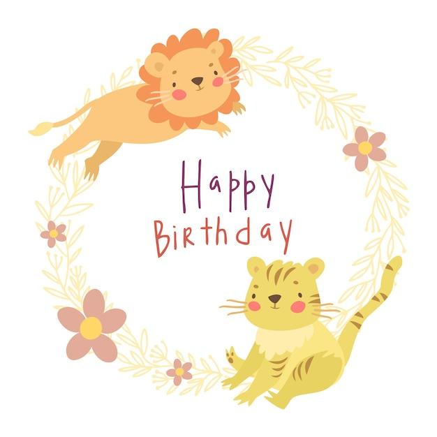 Kartka Urodzinowa, Lew I Tygrys Darmowych Wektorów