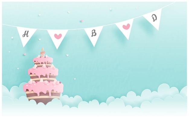 Kartka urodzinowa z ciastem w stylu cięcia papieru. ilustracji wektorowych Premium Wektorów