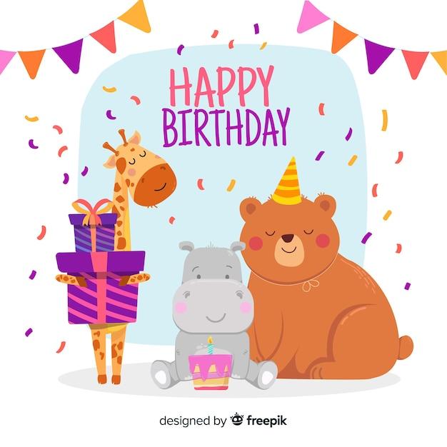Kartka urodzinowa z ilustrowanymi zwierzętami Darmowych Wektorów