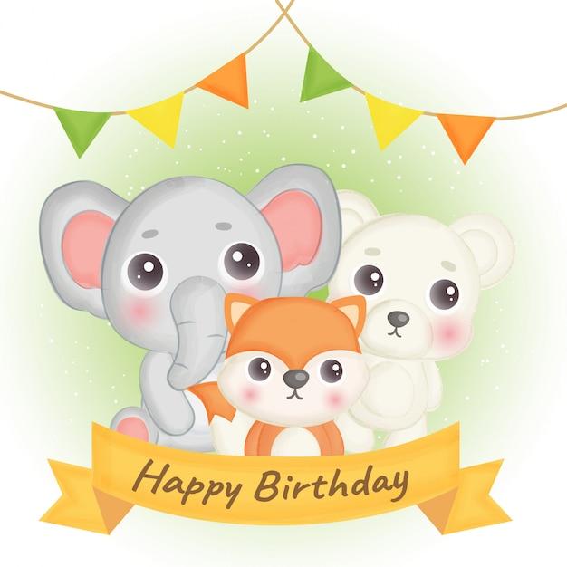Kartka Urodzinowa Z ładny Lis, Słonia I Niedźwiedzia. Premium Wektorów