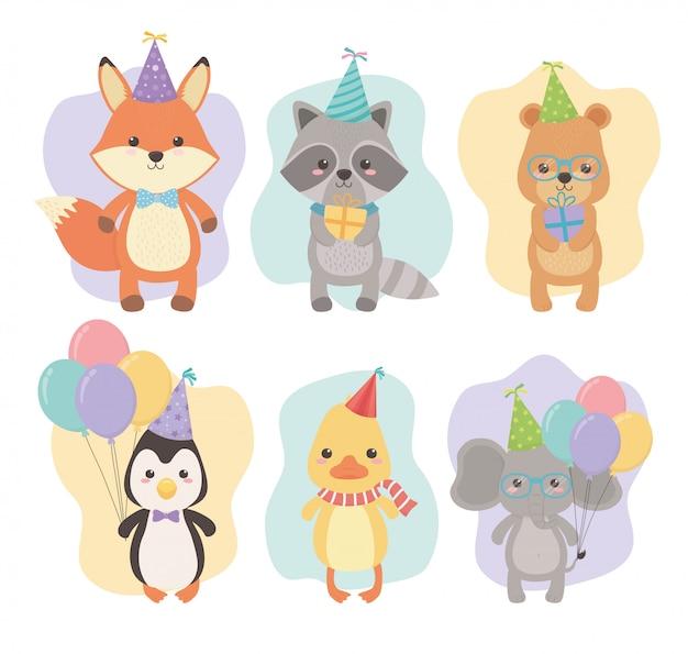 Kartka urodzinowa z małymi postaciami zwierząt Premium Wektorów