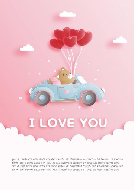 Kartka walentynkowa z uroczym misiem jadącym samochodem i balonami w kształcie serca w stylu wycinanki Premium Wektorów