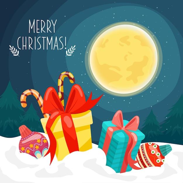 Kartka Wesołych świąt Z Pudełkami Na Prezenty Umieszczone Na śniegu I Księżycu Darmowych Wektorów