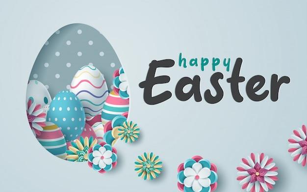 Kartka wielkanocna z wyciętą z papieru ramką w kształcie jajka z wiosennymi kwiatami. Premium Wektorów