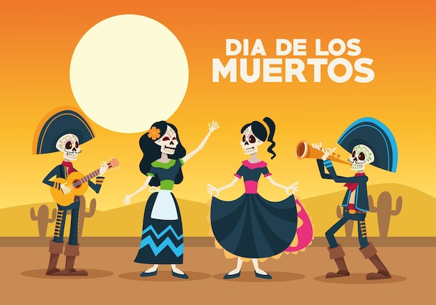 Kartka Z Okazji Dia De Los Muertos Z Grupą Szkieletów Na Pustyni Premium Wektorów